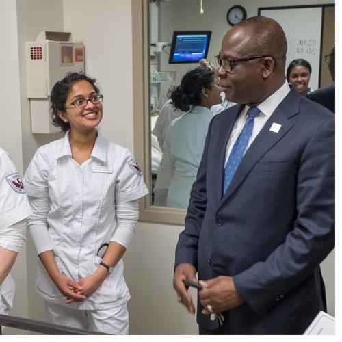 NCCU Nursing Students and Chancellor Johnson O. Akinleye