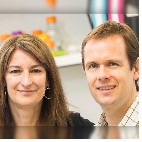 ECU researchers Dr. Isabelle Lemasson and Dr. Nick Polakowski have received more than $840,000 in grant funding since June to continue their studies of a rare disease that can lead to a fatal form of leukemia. (Photos by Cliff Hollis)