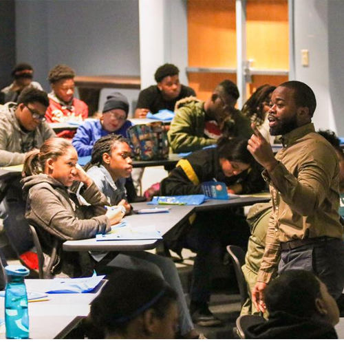 Nationally recognized speaker and author, Odell Bizzell, speaks to high school students during ECSU's pre-college program, PREP, Saturday, March 10.