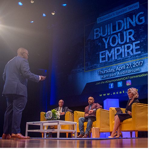 Daymond John stirred the crowd with his dynamic personal story of perseverance and saw some of the best student entrepreneurs Aggieland has to offer