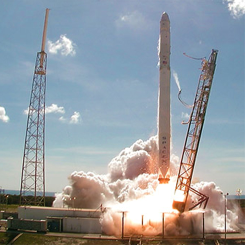 A SpaceX Falcon 9 rocket lifts off from Space Launch Complex 40 at Cape Canaveral Air Force Station. The UNCG-led experiment will launch Thursday on a similar SpaceX rocket. (Credit: NASA)