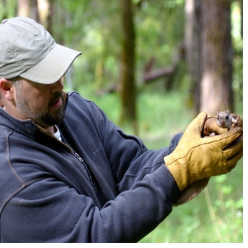 Arbogast and a Humboldt's flying squirrel. Photo by Nick Kerhoulas.
