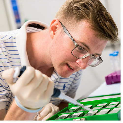 Post-doctoral fellow Dr. Terence Ryan is part of the research team that's investigating how genetics could play a role in limb loss due to vascular disease. (Photos by Cliff Hollis)