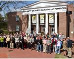 UNC Pembroke Students in front of main hall