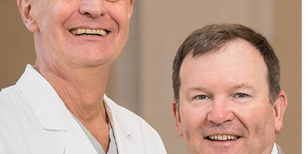 From left, Dr. Paul Mounsey, ECU's new chief of cardiac electrophysiology and ECU cardiac surgeon Dr. Andy Kiser are part of the new atrial fibrillation management team at ECHI (Photos by Cliff Hollis)