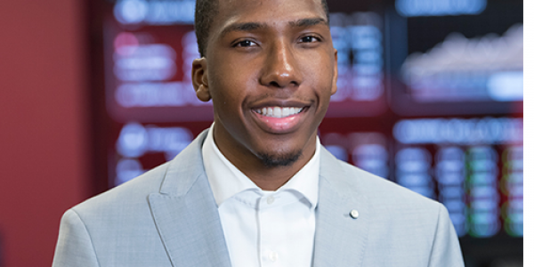 WSSU senior Traron Edwards is president of Ram Asset Management, an investment fund managed by WSSU students.