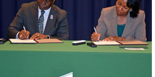 The North Carolina Central University (NCCU) Department Human Sciences and Vance-Granville Community College (VGCC) have signed an agreement to offer two education-related bachelor's degree programs on the community college campus in Henderson, N.C.