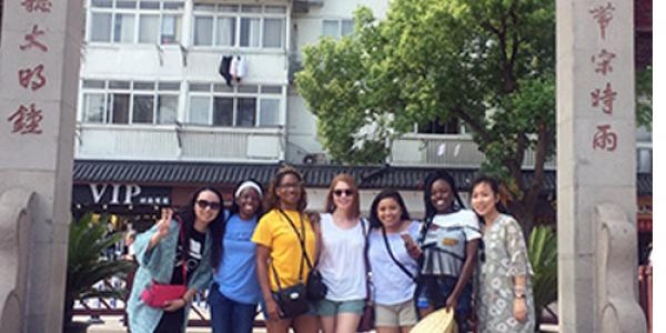 UNCG students and teachers from the Shanghai Experimental School visit Old Shanghai. From left to right: Yun Wu, Nyomi Hemphill, Shameeka Wilson, Julie Greenwood, Christina Santiago, Aliyah Ruffin and Xuan Zhou.