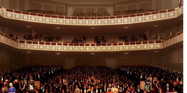 An architect's rendering of how the Stevens Center auditorium might appear after renovations.
