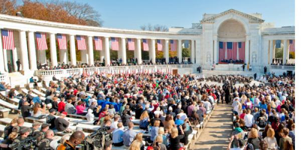 Guests attend a Veterans Day ceremony at Arlington National Cemetery in Arlington, Va., Nov. 11, 2012. (DoD photo by Spc. Lance Philpot, U.S. Army/Released)