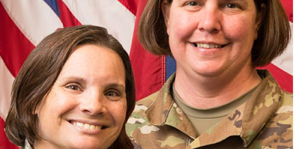 Lt. Col. April Wimmer, professor of aerospace studies and Lt. Col. Melissa Coleman, professor of military science. (Photos by Cliff Hollis)